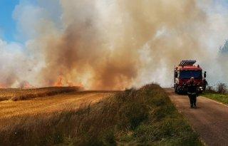Grote brand in graan zorgt voor overlast