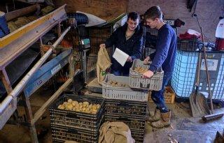 Jong+duo+verkoopt+aardappelen+anders
