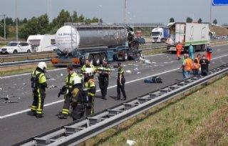 Even paniek door ongeluk tankwagen A16
