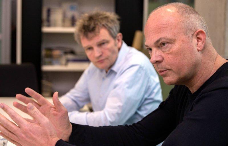 Rijksbouwmeester Floris Alkemade (l) en Berno Strootman, Rijksadviseur voor de Fysieke Leefomgeving.