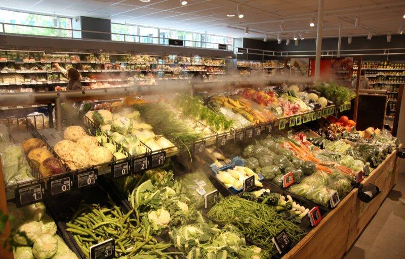 De agf-afdeling in de vernieuwde Albert Heijn-supermarkt in Hoofddorp.