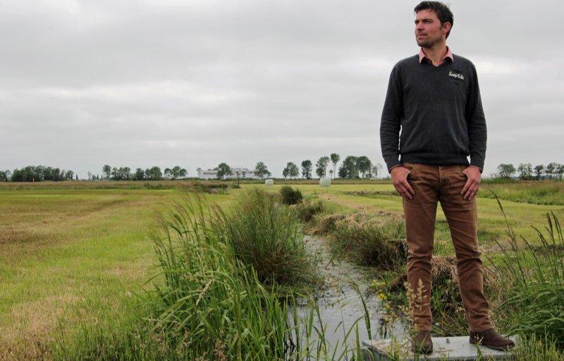 Marten Dijkstra heeft het slootpeil verhoogd en plasdras aangelegd voor weidevogels. Foto: Ida Hylkema