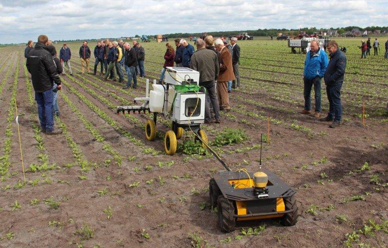 De Husky-robot gaat werken met het 5G-netwerk van KPN voor de herkenning van aardappelopslag in bieten.