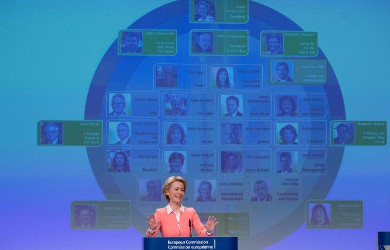 Voorzitter Ursula von der Leyen van de Europese Commissie presenteert de nieuwe Eurocommissarissen.