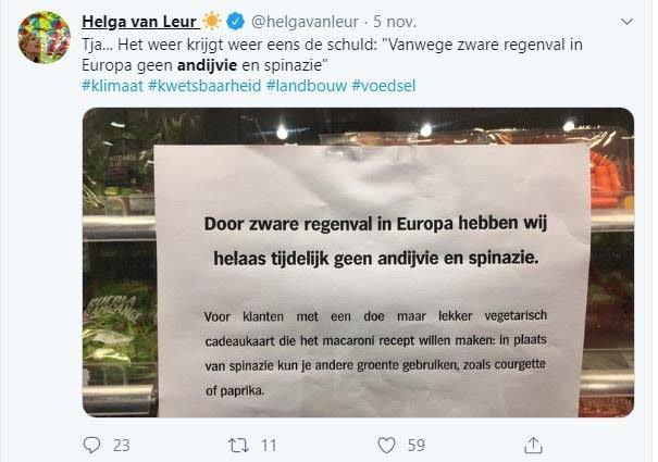 Tweet van oud-weervrouw Helga van Leur.