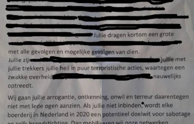 De dreigbrief die Agractie ontving aan het einde van 2019.