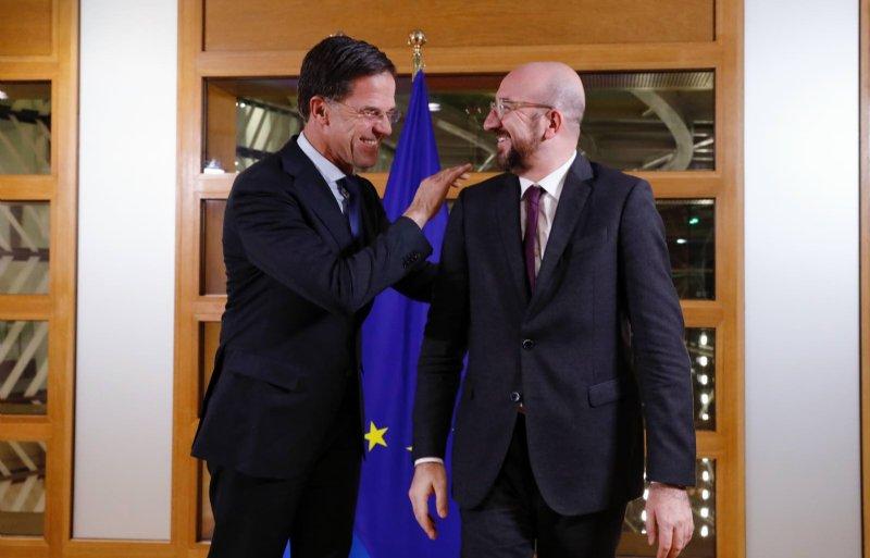 Premier Mark Rutte ontmoet EU-voorzitter Charles Michel.