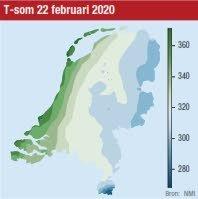 De temperatuurkaart van Nederland.