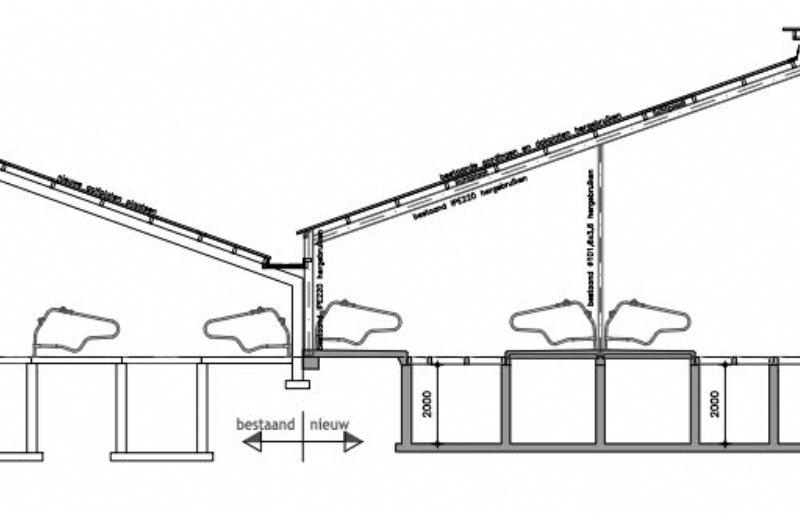 De tekening van de stal van Frielinck. Hij bespaart waarschijnlijk 1,5 ton op een stal die ruim 475.000 euro zou gaan kosten.