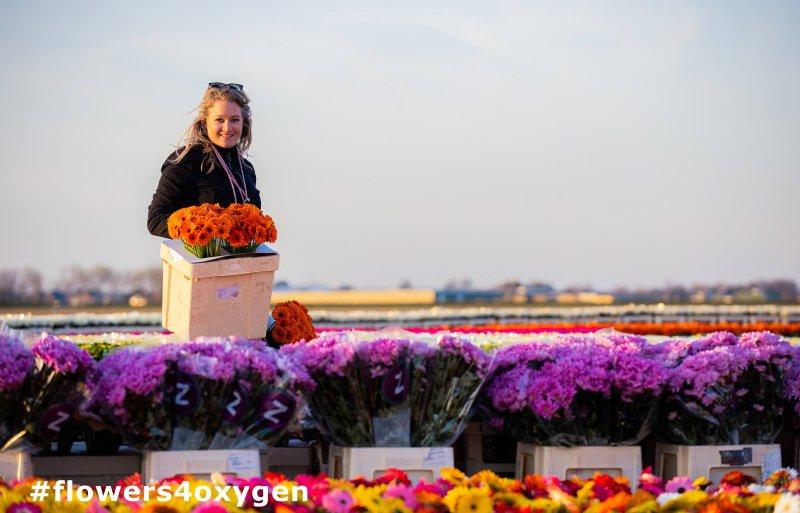 Bloemstyliste Sarah Dikker werkt aan kunstwerk flowers4oxygen