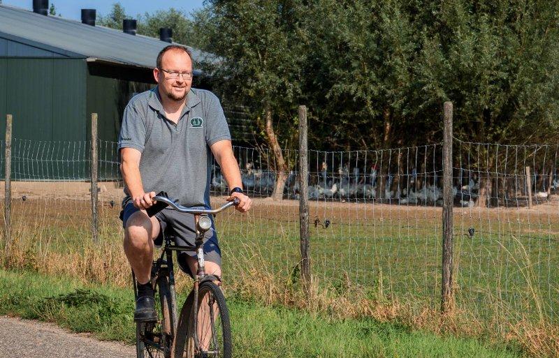 Op opa's fiets van de kippen naar de koeien.