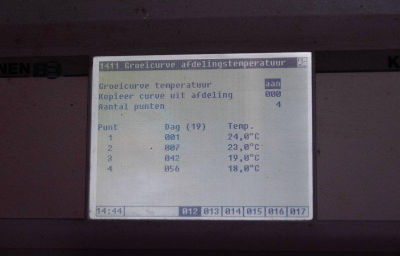 Dit zijn de instellingen van de temperatuurcurve met de knikpunten.