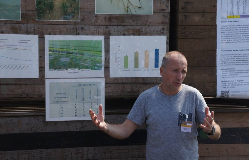 WUR-onderzoeker Johnny Visser geeft uitleg op een open dag bij proefbedrijf Vredepeel.