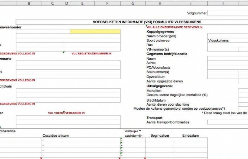 Nieuw VKI-formulier vleeskuikens