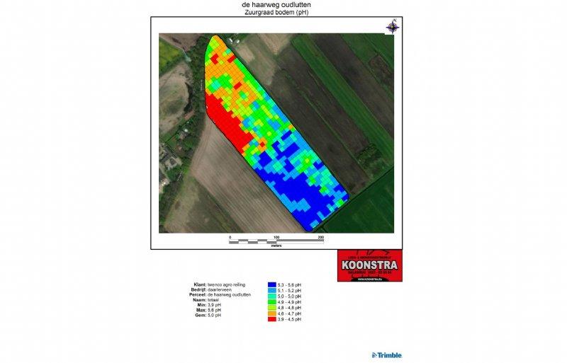Deze perceelkaart geeft plaatsgewijs het pH-gehalte van de bodem aan.