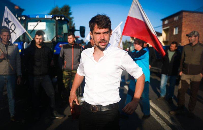 AgroUnia-leider Michal Kolodziejczak tijdens een boerenprotest.