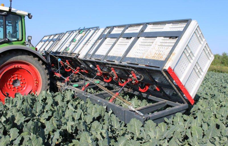 OC Group bouwde ook een oogstframe dat een kistenwagen en trekker uitspaart.